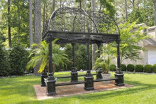 Victorian Style Wrought Iron Dome Garden Gazebo with Bench Seating
