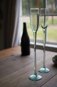 RECYCLED GLASS CHAMPAGNE FLUTE - SKY HIGH - Set of 6
