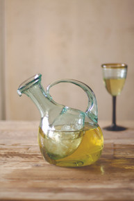 TILTED WHITE WINE DECANTER WITH ICE POCKET