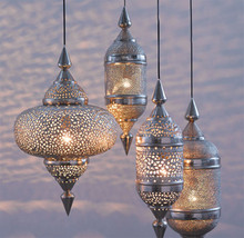 "Moroccan Hanging Lantern 25"" - other sizes & set available"