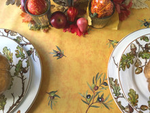 French Provence Thanksgiving Tablecloth Olives All Over in Gold - multiple sizes available