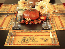 Autumn French Provence Thanksgiving Place Mats Olives Branches in Gold - Set of 4