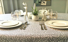 Modern Christmas French Provence Arles in Soft Grey Tablecloth - multiple sizes available