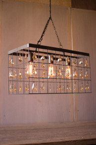 LARGE RECTANGLE PENDANT LIGHT WITH AMBER GLASS GEMS
