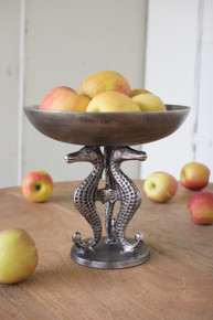 CAST ALUMINUM COMPOTE tall Bowl WITH SEAHORSES - ANTIQUE BLACK