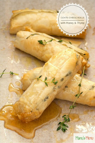 BAKED GOATS CHEESE ROLLS WITH HONEY AND THYME - includes 8