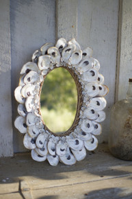 """OVAL OYSTER SHELL MIRROR - 18.5""""t"""