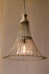 """METAL FLARE PENDANT LIGHT WITH GLASS GEMS 24""""t"""