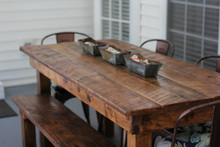 Custom Order - -Farm House Salvaged Wood Table Set w/ Benches & 2 Extensions