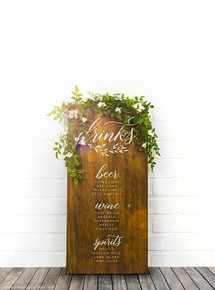 Custom Wood Drink Sign - Weddings, Bar, Menu etc..