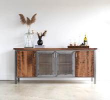 Industrial Modern Buffet Cabinet / Reclaimed Wood + Steel Bar Storage