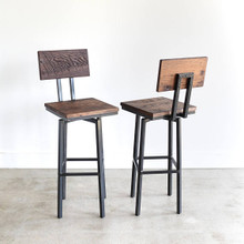 Industrial Swivel Bar Stool made from Reclaimed Barn Wood