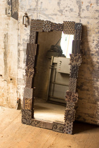 "LARGE REPURPOSED PRINT BLOCK MIRROR - 26"" x 48""t"