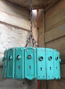 Antique Key Plate Pendant Light Chandelier - Turquoise