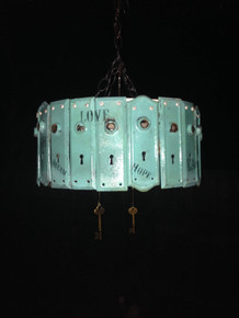 Antique Key Plate Pendant Light Chandelier - Gypsy Turquoise