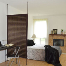 Bamboo Hanging Room Divider Panel - in Walnut