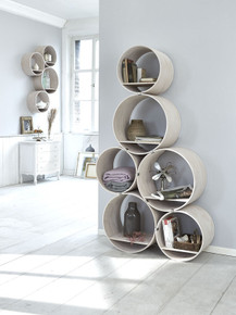 Wall Shelf-Set / Room Divider Flexi Tube Color Beech Wood