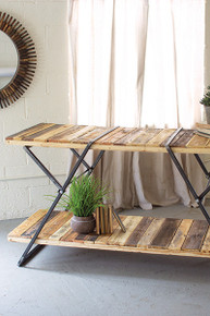 RECLAIMED WOOD TWO TIERED DISPLAY TABLE WITH FOLDING IRON BASE