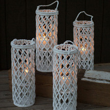 TALL WHITE WILLOW LANTERN WITH GLASS INSERT - includes 4