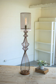 LARGE WIRE TABLE LAMP W/METAL MESH SHADE & HANGING GEMS