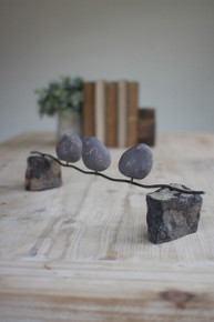 SET OF 3 CLAY BIRDS ON A WIRE W/STONE BASE
