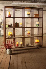 RECYCLED HONEY WOOD 16 CUBE DISPLAY UNIT