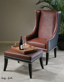 Detrick Leather Arm Chair w/ Ottoman