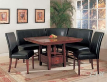 Dolce 6 Piece Leather Wood Corner Breakfast Nook