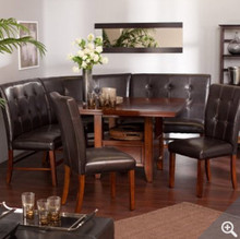Havannah 6 Piece Leather Mahogany Dining Nook