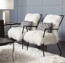 ANSEL CHAIR -TIBETAN FUR - Black or Brass Metal