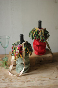 SET OF 6 VELVET WINE BAGS