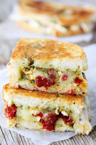 Brie, Pesto, and Sweet Pepper Grilled Cheese - (Free Recipe below)
