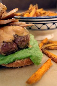 Peanut Butter Burgers w/ Slim Jim Fries & Chocolate Milkshake - (Free Recipe below)