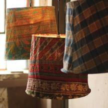 SET OF THREE REMNANT FABRIC PENDANT LAMPS