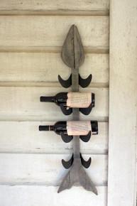 Metal Wood Fish Wall Wine Rack