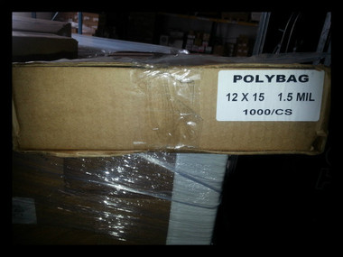 "Flat poly bags 12x15"" clear 1.5 mil 1000 per case"