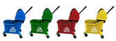 Green dual-cavity mop bucket with down press wringer