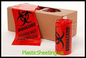 Healthcare Liners - Biohazard, Infectious Waste 33x39x0013, 20Bags/Roll 10Rolls 200Bags/Case, LLD Infect/Bio Liners Red Coreless  #5867  Item No./SKU