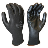 6898CBXL STANDARD  13-GAUGE  BLACK POLYESTER SHELL  BLACK POLYURETHANE PALM COATING Cordova Safety Products