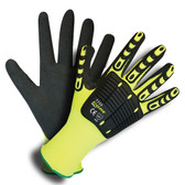 7735S OGRE-IMPACT™  13-GAUGE  HI-VIS LIME POLYESTER SHELL  TPR PROTECTORS  INTERIOR FOAM PALM PADDING  BLACK SANDY NITRILE PALM COATING Cordova Safety Products