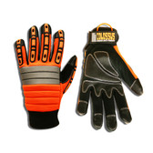 7745L COLOSSUS™ ORANGE SPANDEX BACK  FOAM METACARPAL PADDING  TPR PROTECTORS  BLACK SYNTHETIC LEATHER PALM  PVC PALM REINFORCEMENTS  HOOK & LOOP CLOSURE Cordova Safety Products