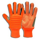 7747M COLOSSUS III™ HI-VIS ORANGE SPANDEX BACK  FOAM METACARPAL PADDING  CANVAS PALM WITH ORANGE PVC DOTS  REINFORCED THUMB CROTCH  NYLON KNIT WRIST Cordova Safety Products