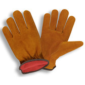7910L STANDARD SPLIT LEATHER DRIVER  SHIRRED ELASTIC BACK  KEYSTONE THUMB  RUSSET  RED FLEECE LINED Cordova Safety Products