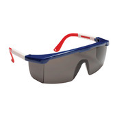 EJNWR20S RETRIEVER™ RED  WHITE & BLUE FRAME  GRAY LENS WITH INTEGRATED SIDE SHIELDS  ADJUSTABLE TEMPLES Cordova Safety Products