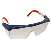 EMNWR10S RETRIEVER II™ RED  WHITE & BLUE FRAME  CLEAR LENS WITH INTEGRATED SIDE SHIELDS  5-POSITION RATCHET  EXTENDABLE TEMPLES Cordova Safety Products