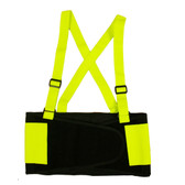 SB100XL HI-VIS LIME BACK SUPPORT BELT WITH ATTACHED SUSPENDERS  LIME QUICK ADJUST ELASTIC OUTER PANELS Cordova Safety Products