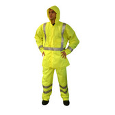 R3GJM REPTYLE™ CLASS III RAIN JACKET  LIME 300D POLYESTER/PU FABRIC  3M REFLECTIVE TAPE  CHEST POCKET  SNAP CLOSURE WITH STORM FLAP  HOOK & LOOP WRIST CLOSURES Cordova Safety Products