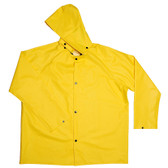 R8022FRJM DEFIANCE FR™ .28 MM PVC/NYLON/PVC  YELLOW 2-PIECE RAIN JACKET  LIMITED FLAME RESISTANT  STORM FLY FRONT WITH SNAP BUTTONS  DETACHABLE HOOD Cordova Safety Products