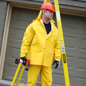 R9023FR4XL STORMFRONT FR™ .35 MM PVC/POLYESTER  YELLOW 3-PIECE RAIN SUIT  LIMITED FLAME RESISTANT  STORM FLY FRONT WITH ZIPPER/SNAP BUTTONS  BIB PANTS WITH SUSPENDERS  DETACHABLE HOOD Cordova Safety Products