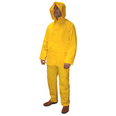 R9123YS STRATUS™ .30 MM PVC/POLYESTER  YELLOW 3-PIECE RAIN SUIT  SNAP BUTTONS  BIB-STYLE PANTS WITH SUSPENDERS  DETACHABLE HOOD Cordova Safety Products